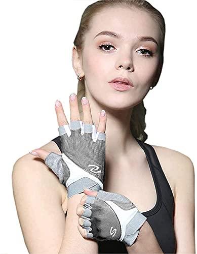 Luwint Women Fingerless Yoga Gloves Non Slip Padded - Barre Pilates Fitness Workout Training Wrist Exercise Accessories (Gray, Medium)