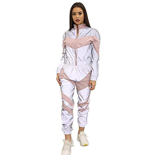 Xinvivion Conjunto de Chándal Reflectante de 2 Piezas para Mujer, Chaqueta Corta de Manga Larga y Pantalón de Cintura Alta