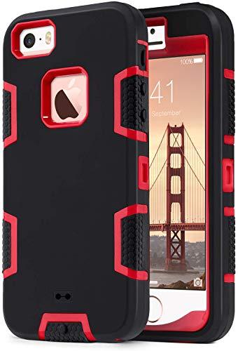 ULAK Funda iPhone SE 2016, iPhone 5/5S Estuche 3en1 a Prueba de Golpes de Estuche Parachoques de Resistente Caso de protección Suave de Silicona para Apple iPhone 5/5S/SE (2016) - Negro Rojo