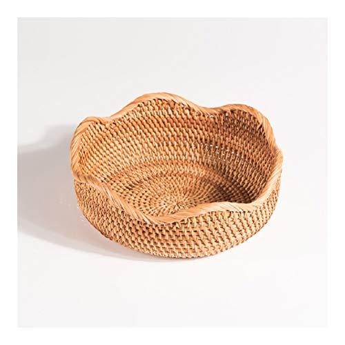 Round Rattan Fruit Basket Bread Basket Tray Storage Basket Wicker Hand-woven Basket Living Room Fruit Tray Storage Basket, Natural Color (Size : 22.5 cm in diameter)