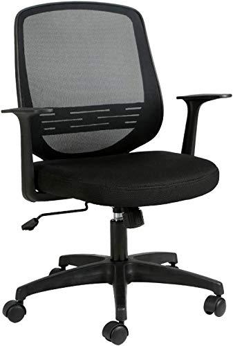 SJJ Silla de oficina ergonómica de escritorio con respaldo de malla transpirable, apoyabrazos y soporte lumbar ajustable, silla de ordenador ajustable en altura con balancín, color negro
