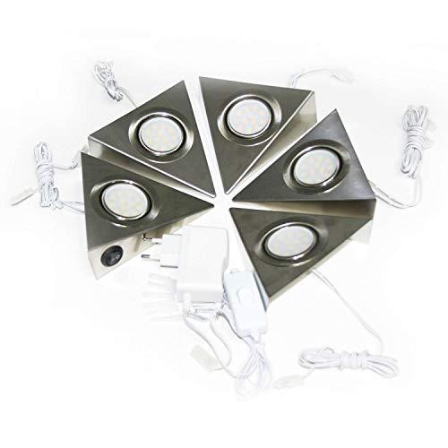 LED Unterbauleuchte Dreieckleuchte 5er Set – Schrankbeleuchtung Küchenleuchte Komplettset – hochqualitative VerarbeitungStrahler – Edelstahl