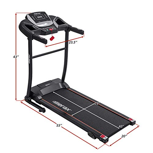Merax Electric Folding Treadmill – Easy Assembly Fitness Motorized Running Jogging Machine with Speakers for Home Use, 12 Preset Programs (Black)