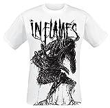 In Flames Big Creature Hombre Camiseta Blanco L, 100% algodón, Regular