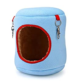 73JohnPol Warm Bed Rat Hammock Squirrel Winter Toys Pet Hamster Cage Durable Hanging Nest Toy Comfortable Pet Supplies&(color:blue)(size:9 * 9 * 10cm)