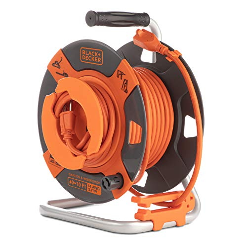 Black + Decker Retractable Extension Cord, 50 ft, 14AWG SJTW Power Cable, for Electric Tools - Outdoor Power Cord Reel w/ Heavy-Duty Rewind Handle - Premium Cord Retractor for Backyard + Workshop