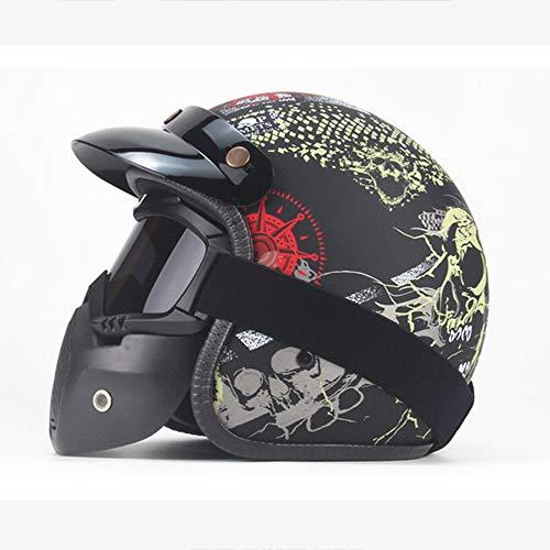 MRDEER® Piraten-Schädel Motorradhelm Vintage Integralhelm Helm Retro Unisex Full-face Scooter-Helm Roller Sturz-Helm für Männer Frauen Erwachsene mit Visier Maske Brille (S,M,L,XL),MatteBlack,L