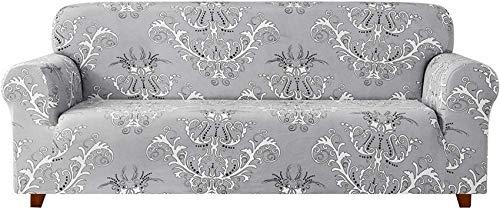 DIELUNY - Funda de sofá universal para sofá (tejido jacquard, 1, 2, 3, 4 plazas, poliéster, elastano, patrón floral, antideslizante), diseño floral, para mascotas (patrón gris de 1,2 plazas/Loveseat)