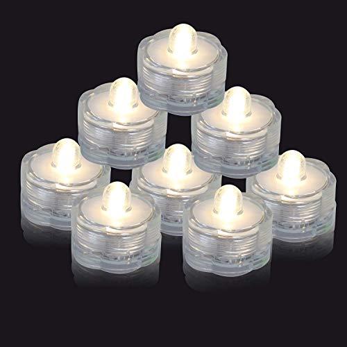 MuLucky 10pcs Wasserdicht Batterie angetrieben vielen Farben Blume Mini-LED-Unterwasser Kerzen Lichter für Vasen Hochzeit Dekoration (Warmweiß)