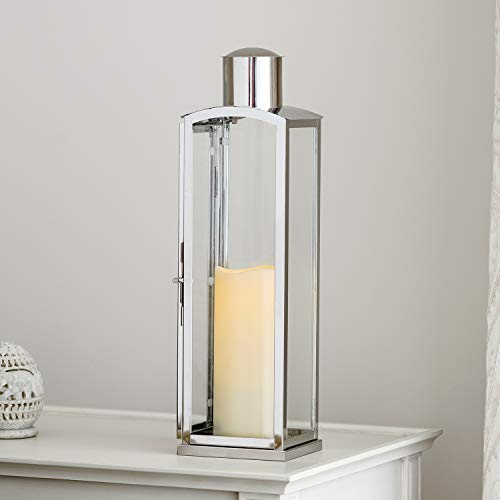 Lights4fun, Inc. 18' Stainless Steel & Glass Indoor Battery Operated LED Flameless Candle Lantern with Timer