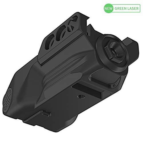 Laspur Sub Compact Tactical Rail Mount Low Profile Green Laser Sight, Build-in Rechargeable Battery for Pistol Rifle Handgun Gun (Button Switch)