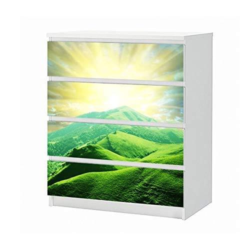 Set Möbelaufkleber für Ikea Kommode MALM 4 Fächer/Schubladen Landschaft grün Sonne Aufgang Berge Wald Märchen Aufkleber Möbelfolie sticker (Ohne Möbel) Folie 25B1350