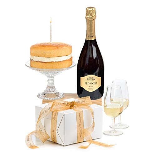 Hay Hampers Birthday Cake, Candle & Prosecco- Birthday Hamper Gift - Free UK Delivery