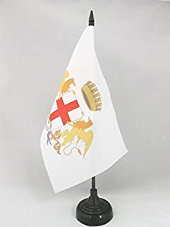 AZ FLAG City of Genoa Coat of arms Table Flag 5'' x 8'' - Genova Desk Flag 21 x 14 cm - Black Plastic Stick and Base