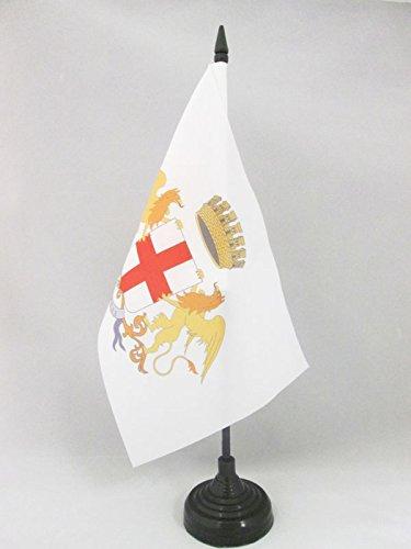AZ FLAG Bandiera da Tavolo Città di Genova con Stemma 21x14cm - Piccola BANDIERINA Genoa con Blasone 14 x 21 cm