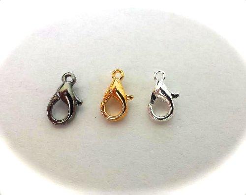 10 x Karabinerverschlüsse für Halsketten, Kordeln in Schwarz, Silber, Gold, 10 mm, 12 mm, 14 mm (10 mm, Rotguss-Schwarz plattiert)