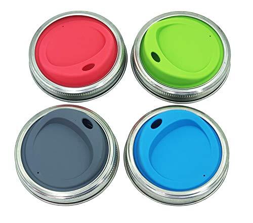 THINKCHANCES Wiederverwendbares, lebensmittelechtes & BPA-freies Silikon-Trinkdeckel-Set mit Edelstahlringen für Einmachgläser, Kugeln, Einmachgläser, 4 Sets (breite Öffnung, ovales Trinkloch)