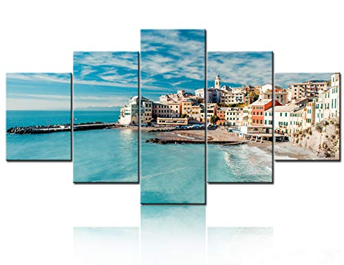 """5 Panel Wall Art Painting Bogliasco is a Ancient Fishing Village in Italy, Genoa, Liguria Prints On Canvas The Picture City Pictures Oil for Home Modern Decoration Print Decor Ready to Hang60""""W x 32""""H"""