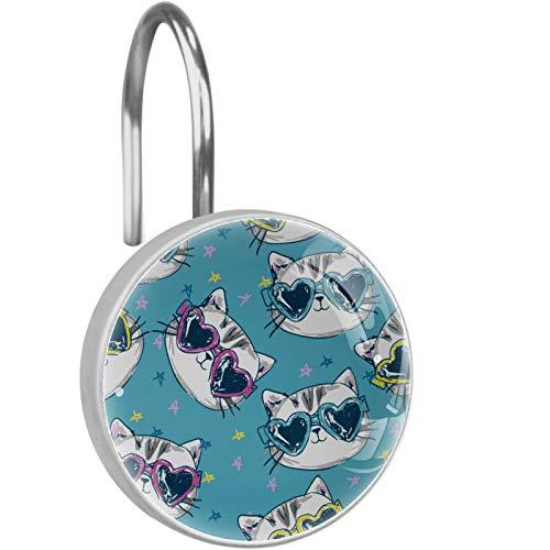 ATOMO Ganchos decorativos para cortina de ducha, diseño de gato en gafas de sol, paquete de 12 ganchos para cortina de ducha, anillos de metal resistentes al óxido, deslizamientos