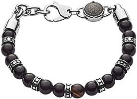 Save on Diesel Men's Black-Tone Semi-Precious Beaded Bracelet, DX1163040
