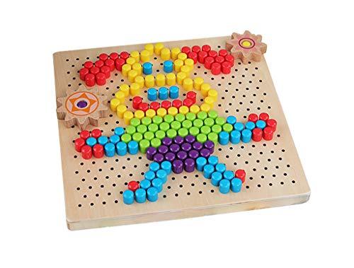 SY-Home Champignon Bois Nail Puzzle Toy, créer des Motifs pour améliorer l'imagination et la créativité pour Les Enfants Améliorer bébé Enfants Tout-Petits Cadeaux