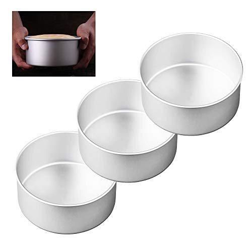 8 Inch Round Cake Pans Set of three, Aluminum Baking Pans with Removable Bottom, One-piece Molding & Leakproof Round Layer Cake Pans Tin Set for Baking Cooking, Fit Oven/Pots/Pressure Cooker