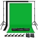 Hemmotop 写真撮影用 背景スタンド 200x300cm 布 黒 白 緑 + サンドバッグ 二つ + 強力クリップ 6個 付き スタジオ撮影機材 バックグラウンドサポート 背景布/背景紙に適用 組み立ては簡単 高強度 安定性がよい