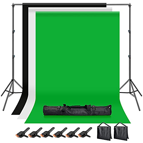 Hemmotop 写真撮影用 背景スタンド 200x300cm 布 黒 白 緑 + サンドバッグ 二つ + 強力クリップ 6個 付き ...