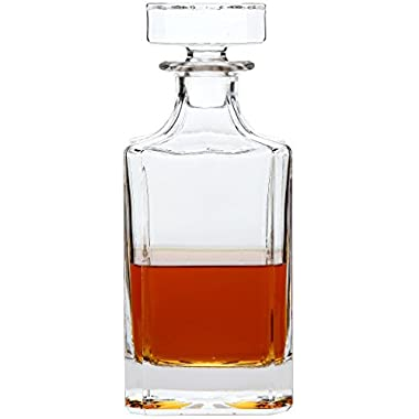 Lily's Home Glass Decanter with Glass Stopper, Let Your Favorite Vintages Breathe with this Beautifully Stylish and Functional Piece (26 Ounces)