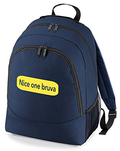Ice-Tees- Nice One Bruva- Rave Scene Meme- Mochila Retro para Hombre Azul Marino Talla única