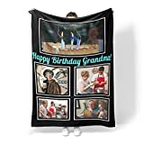 Happy Birthday Gifts for Grandma Personalized Custom Blanket with Photo Collage Customized Blanket for Grandma Grandpa Pets & Friends for Birthday Souvenirs, 5 Photos Collage,40x60inch