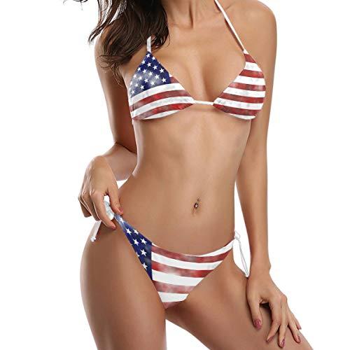 Saoye Fashion Getragene Flagge Amerika Bikini Badeanzug Tie Side Gepolsterte Bikini Badebekleidung Fiesta Kleidung Zwei Stücke Badeanzug (Color : Mehrfarbig, Einheitsgröße : S)