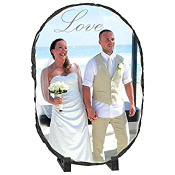 Natural Stone Personalized Picture Frames Photo Rock/Slate Plaque Customized Novelty Birthday Valentine s Day  5.5  X 7.5    7.5 x 11 Oval