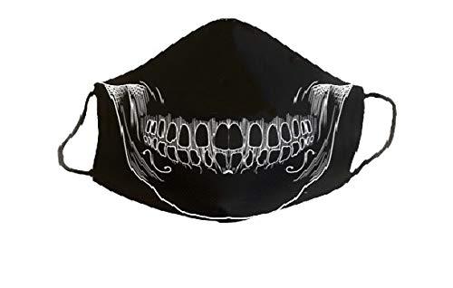 Mascarilla protectora homologada de 3 capas calavera negra original divertida con diseño dibujos