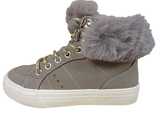 Girls Jodi Beige Fur Collar Hi Top Fashion Trainer UK Size 1