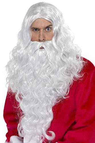 SMIFFYS Smiffy's Kit Babbo Natale, Bianco, con parrucca e barba Uomo, Taglia Unica, 38317