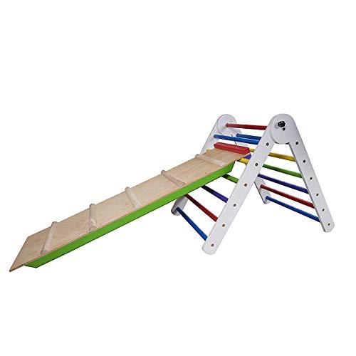 Pikler Dreieck Triangel Kind Spielplatz mit Rutschbahn ˝TriAngel-Farbe-65˝ Holz Kletternetz Kletterwand