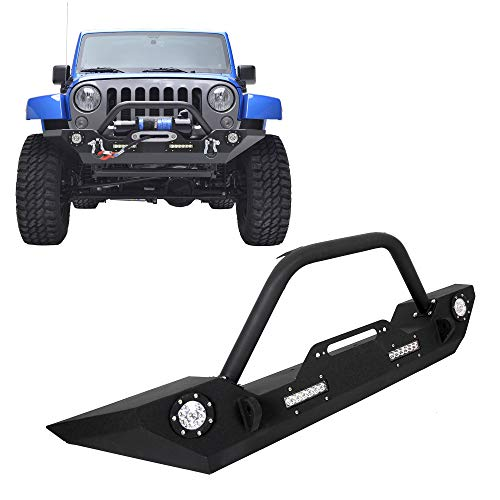 Front Road Bumper Rock Crawler Bumper w/LEDLight Winch Plate For 2007-2019 Jeep Wrangler JK Wiring