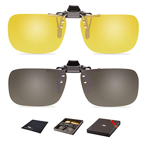 Clip On Flip Up Polarized Len Sunglasses Over Prescription Myopia Eyeglasses 2PC