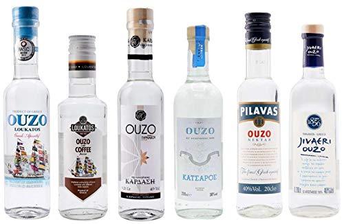 OUZO Probierset 6x 200ml | Feinster Ouzo aus Griechenland | Ouzo Geschenkset (6x 200ml)