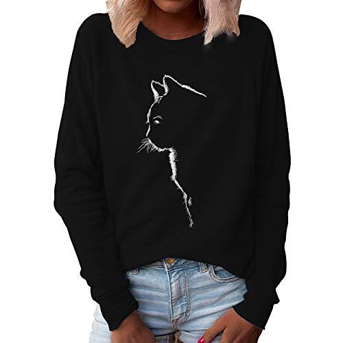 Xmiral Sweatshirt Damen Katze Gedruckt Einfarbig Pullover Slim Fit Langarm O-Ausschnitt T-Shirt Bluse(Schwarz,XL)