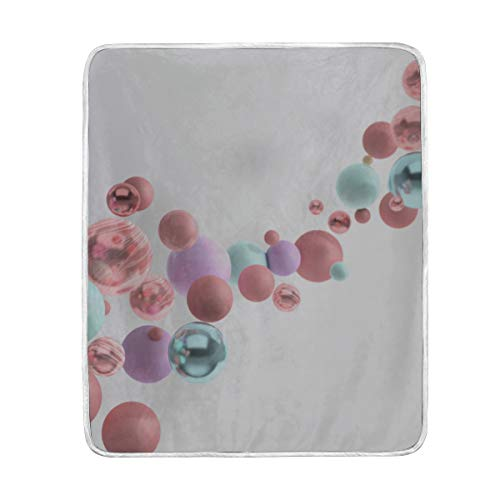 """Throw Blanket 3D Rendering Floating Polished Blue Pink Soft Blanket Warm Plush Blanket for Sofa Chair Bed Office Gift Best Friend Women Men 50""""x60"""" Very Soft Throw Blanket"""