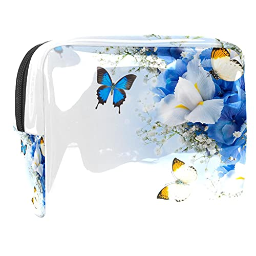 Bolsa de cosméticos para Mujeres Flores Mariposa Azul hortensias Blancas Iris Bolsas de Maquillaje espaciosas Neceser de Viaje Organizador de Accesorios