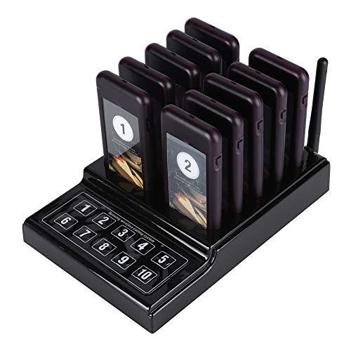 tonysa Sistema de Llamadas Restaurante Inalámbricas con 1 transmisor de Teclado y 10 Bipers Portátiles, Sistema de Llamada Inalámbrico 3 Modos de Recuperación con Batería Incorporada(EU)