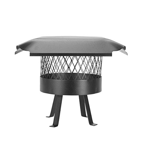 Draft King CBO811 Round Slip In Black Galvanized Steel Single Flue Chimney Cap with Legs Welded onto the Cap, 10