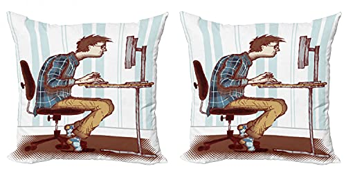 ABAKUHAUS Friki Set de 2 Fundas para Cojín, Programador Adicto al Trabajo de Guy, con Estampado en Ambos Lados con Cremallera, 40 cm x 40 cm, Multicolor