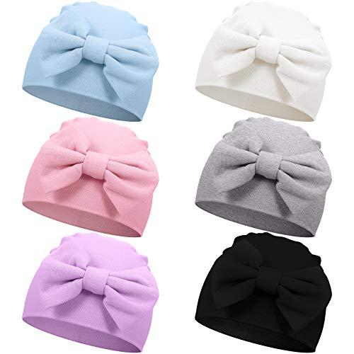 6 Piezas Gorro de Algodón Suave de Bebés Unisex Recién Nacidos con Lazo Lindo para Bebés de 0-6 Meses, 6 Colores