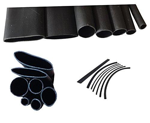 7 Stück LISSEK Schrumpfschlauch 3:1 mit Kleber je 0,5 Meter (insgesamt 3,5 Meter) 7 Größen Schwarz 3,2, 4,8, 6,4, 7,9, 9,5, 12,7 und 15,7 mm Ø
