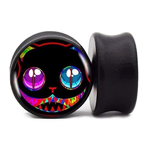 FLYUN 2PCS Skull Wood 00 Gauges For Ears Size 00G Black 10MM Ear Gauge Plug Tunnel Stretcher Expander Piercing Jewelry (00G (10mm))
