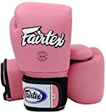 Fairtex Piel Mujer Guantes de Boxeo en Rosa, Tight Fit (BGV1Serie), Muay Thai, Boxeo, Kickboxing, K de 1, Rosa